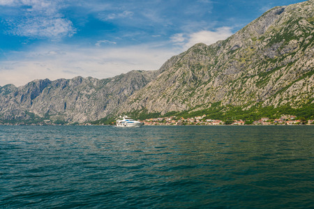 View of the coast of the Bay of Kotor near Dobrota, Montenegro