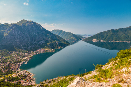 Beautiful landscape with Risan town ,sea and mountains. Montenegro seashore, Bay of Kotor.
