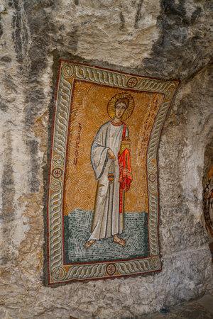 balkans: OSTROG, MONTENEGRO - JUNE 21, 2017: Mosaics in Ostrog monastery, Montenegro. Ostrog monastery is the most popular pilgrimage place in Montenegro.