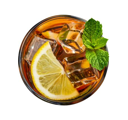 Glass of lemon ice tea isolated on white background, top view Foto de archivo