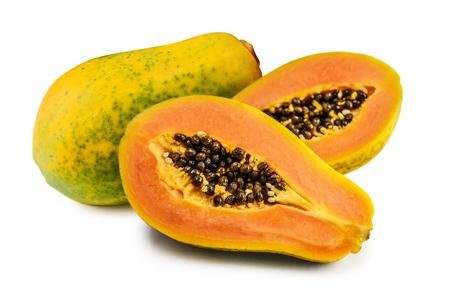 Fresh papaya fruit isolated on white wooden background