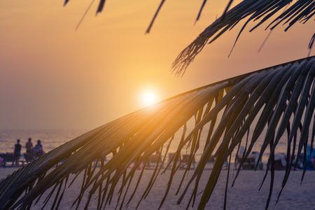 Sunset on beauty Arambol beach , Goa state, India