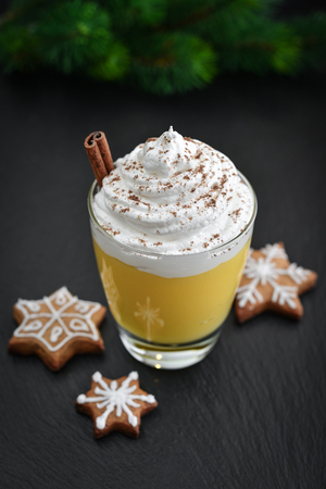 Christmas drink eggnog in glass with cinnamon and fir tree twig on black slate  background