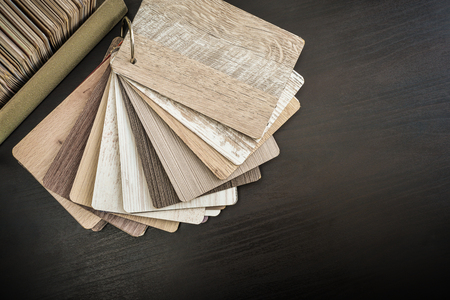 Set of wooden laminated construction planks for choosing tipe of furniture decor. Set of laminated chipboard samples. Stock fotó