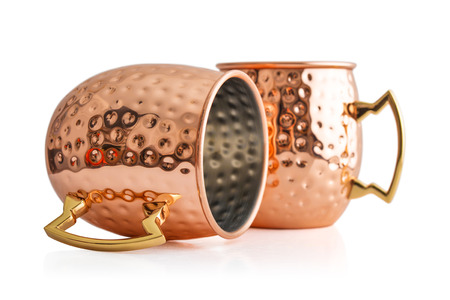 Moscow mule cocktail copper mug isolated on white background