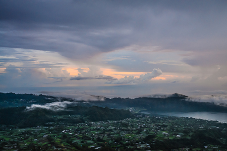Beautiful view on Agung volcano from the peack of Batur volcano at sunrise, Bali, Indonesia
