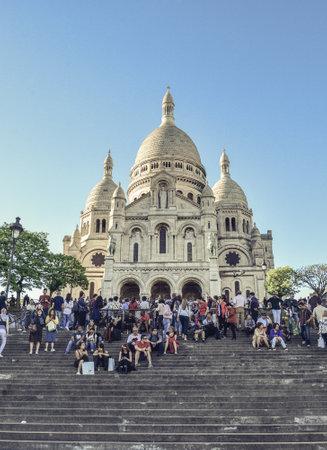 Paris, France - May 8, 2018: Sacre-Coeur Basilica on Montmartre, Paris, France