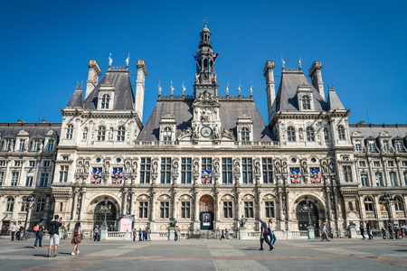 Paris, France - May 6, 2018: The Hotel de Ville (city hall) in Paris, France. This building is housing the City of Paris's administration.