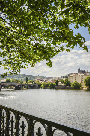 The View from embankment of Prague on  River Vltava at  spring