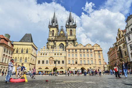 Prague, Czech Republic - May 9, 2018 : Old Town Square with Church of Our Lady before Tyn at sunny day in Prague, Czech Republic.