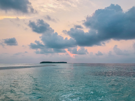 Beautyful sunset in the ocean near Fehendhoo island, Maldives