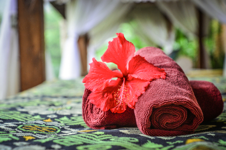 Canopies for massage with towels in resort on Bali island closeup