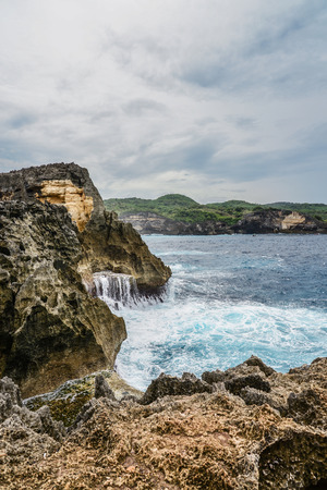 Coastline on Nusa Penida island near Angel's Billabong beach in Indonesia