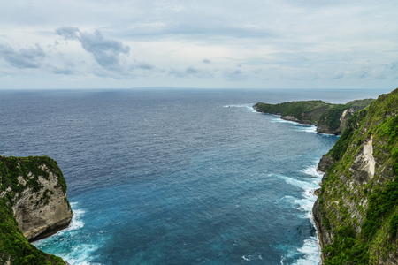 Coastline on Nusa Penida island near Kelingking Beach in Indonesia