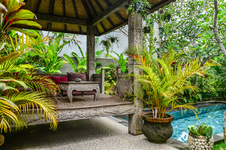 Cozy gazebo near swimming pool in traditional balinese house for rent, Ubud, Indonesia