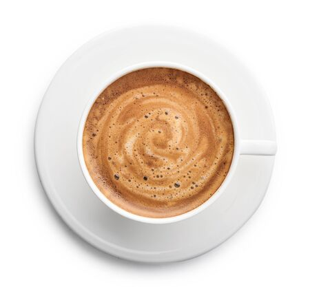 Capuccino koffie in kopje geïsoleerd op een witte achtergrond, bovenaanzicht Stockfoto