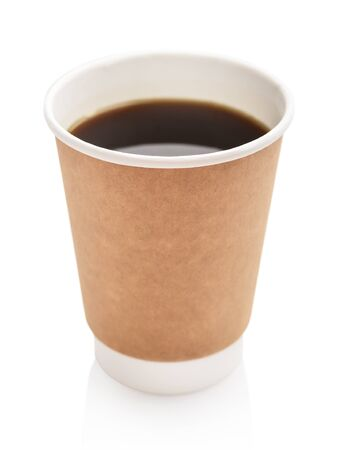 Disposable takeaway cups with coffee  isolated on white background,  including clipping path