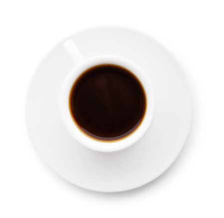 Taza de café aislado sobre fondo blanco, vista superior Foto de archivo