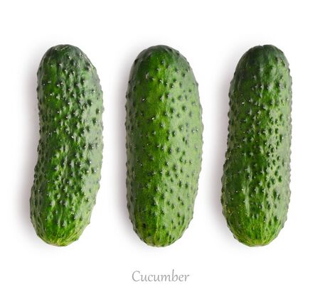 Set of fresh cucumber isolated on white background, top view Фото со стока