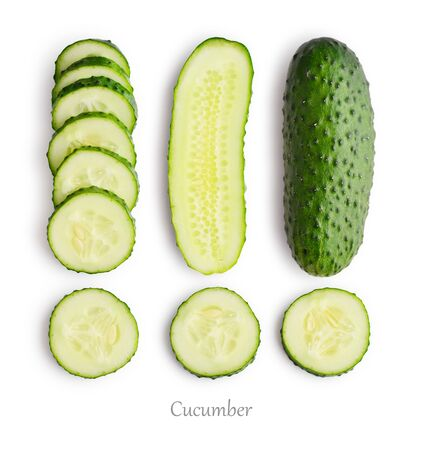 Set of fresh cucumber slices isolated on white background, top view