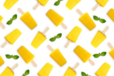 Pattern from mango ice cream stick isolated on white background