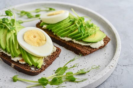 Avocado Sandwich with boiled Egg - sliced avocado and egg on rye toasted bread for healthy breakfast or snack,