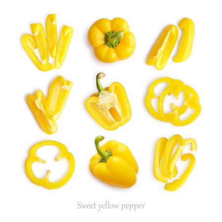 Set of fresh whole and sliced sweet yellow pepper isolated on white background, top view