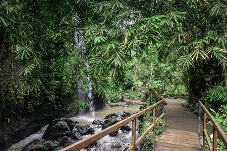 Bridge near beautiful  Tibumana Waterfall (air terjun Kanto Lampo) not far from Ubud, Bali, Indonesia Stock fotó