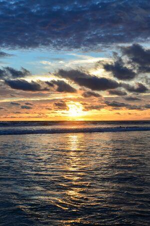 Beautiful bright  sunset on the ocean on Bali island