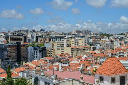 LISBON, PORTUGAL - JULY 4, 2019: View from The Torel Garden (Jardim do Torel) on Lisbon at sunny day, Portugal. Redakční