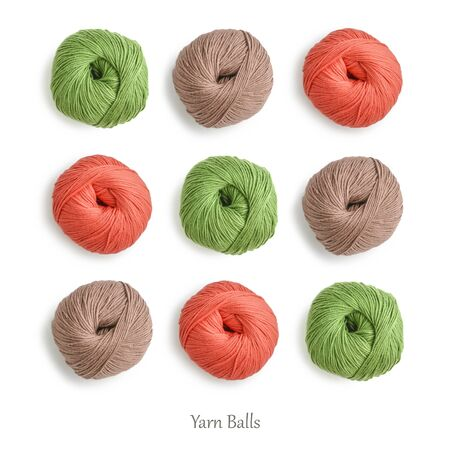 Pattern from cotton yarn skeins in different  colors isolated on white, top view 版權商用圖片