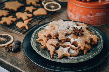 Traditional Christmas ginger cookies sprinkled with powdered sugar on plate closeup
