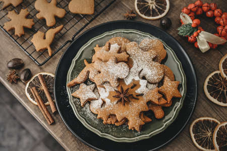 Traditional Christmas ginger cookies sprinkled with powdered sugar on plate, top view