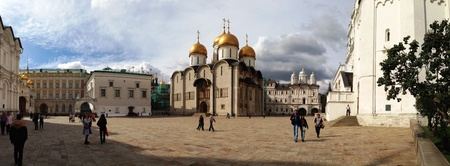 cupolas: Cathedrals in Moscow kremlin, panoramic view Stock Photo