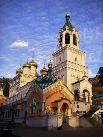 cupolas: Church in Nizhny Novgorod, Russia Stock Photo