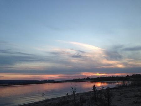 volga river: Sunset at Volga river Stock Photo