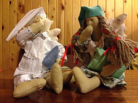 pillows: Two tilda dolls Stock Photo