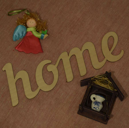 inscription: Inscription home with angel Stock Photo