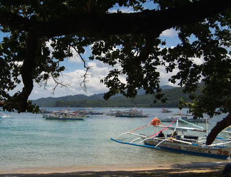 Puerto Princesa, Palawan, Philippines - 03 of March 2018: Seascape with boats