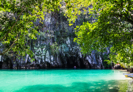 Beautiful lagoon, the beginning of the longest navigable underground river in the world. Puerto Princesa, Palawan, Philippines.