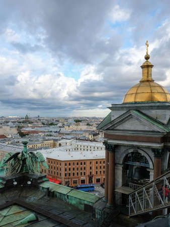 Saint Petersburg aerial view from Colonnade of St. Isaac's Cathedral in summer day, Russia