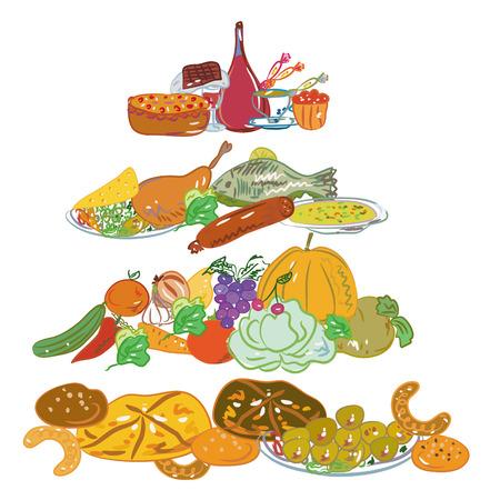 cartoon vegetable: Hand drawn cartoon food pyramid