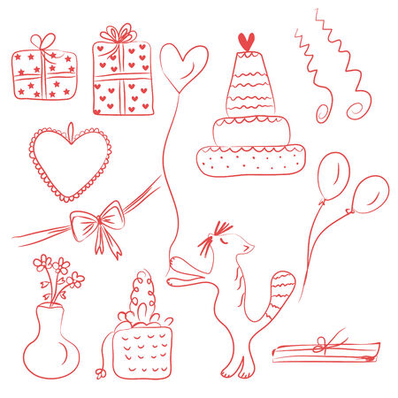 Birthday holiday doodle red set Vector