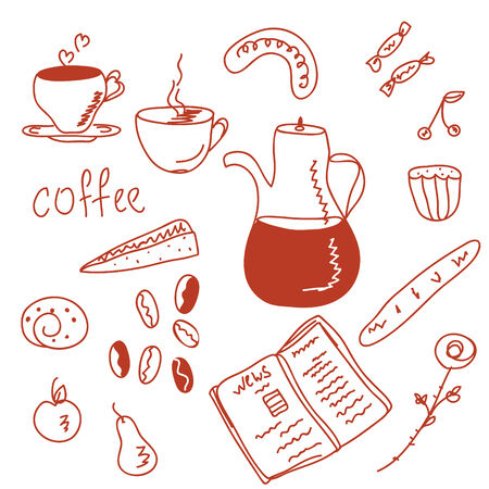 Morning coffee  funny doodles set Stock Vector - 6779366