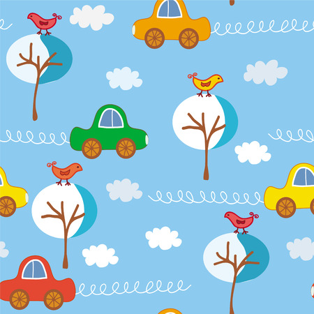 Seamless cute cars winter pattert Vector
