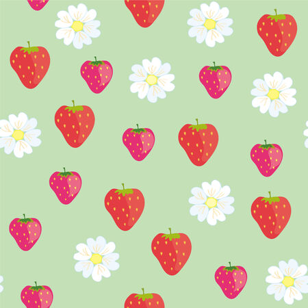 Straberries seamless pattern with flowers Illustration