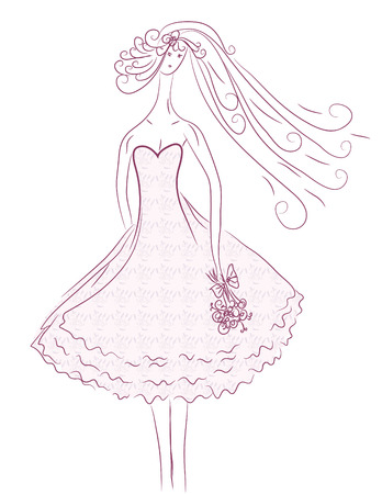 strapless: Bride sketch in pink colors