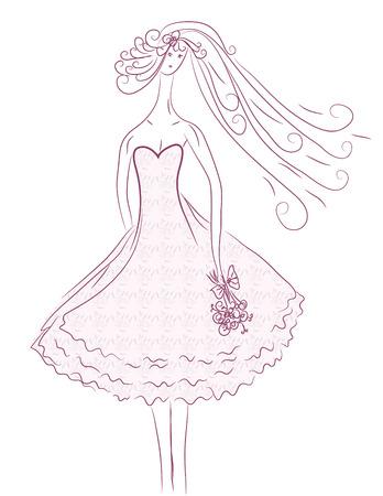 poise: Esbozo de la novia en colores rosados