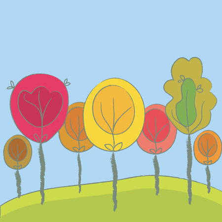 Cute seasonal background with trees Stock Vector - 6779411