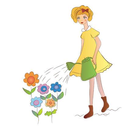 Little girl watering flowers Stock Vector - 6779370